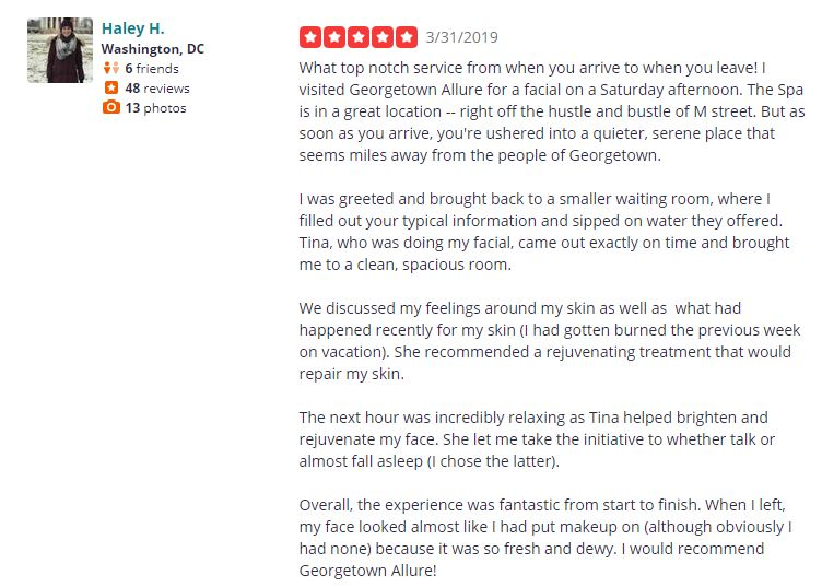 Yelp review from Haley H